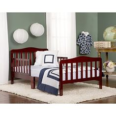 NEW Toddler Infant Bed w/ Side Safety Rails Solid Wood Safe Sturdy Sleeper Brown #DreamOn