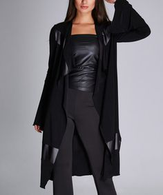 Love this Black Faux Leather Panel Open Cardigan on #zulily! #zulilyfinds