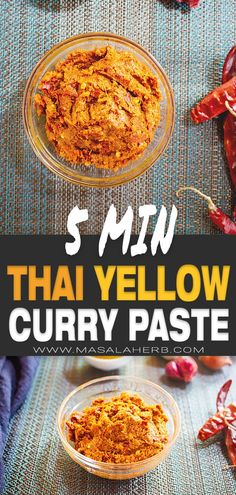 Thai Yellow Curry Paste Recipe - How to make Thai yellow curry paste from scratch easily and quickly. Basic condiment, paste to prepare Thai yellow curry or to enhance soups, pasta dishes, and other meals. Thai Yellow Curry Paste, Yellow Curry Recipe, Recipe For Curry Paste, Oriental Recipes, Indian Food Recipes, Asian Recipes, Thai Food Recipes, Food Dishes, Pasta Dishes