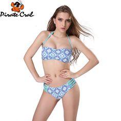 cba96b715 Encontre mais Conjunto biquínis Informações sobre Sexy Bandeau bikini set  retro blue print Bandage Swimsuit brasileiro