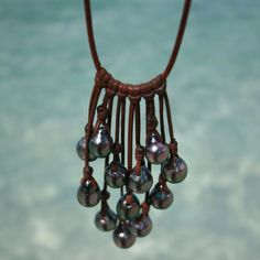 Tahitian black pearls leather necklace. by TresorsDeStBarth