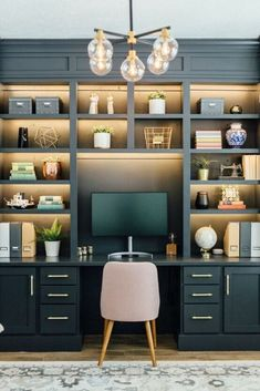 My Gorgeous DIY Office Built ins Reveal - Honeybear Lane Gray Home Offices, Home Office Space, Home Office Design, Home Office Decor, Home Decor, Office Ideas, Office Setup, Office Organization, Interior Office