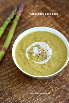 Roasted Asparagus Basil Soup. Vegan Glutenfree Recipe - Vegan Richa #vegan #soup #asparagus
