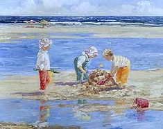 Sand Castle Day by Sally Swatland - 24 x 30 inches Signed impressionist beach scenes children playing contemporary american chase pothast