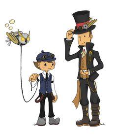 Colour mismatch but added ornaments. Steampunk : Professor Layton + Luke by ~Akita48 on deviantART
