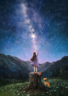 """Find and save images from the """"The Diary Of A Forest Girl"""" collection by Naty (katrinavt) on We Heart It, your everyday app to get lost in what you love. Illustration Art, Illustrations, Forest Girl, Anime Scenery Wallpaper, Girl Wallpaper, Girl And Dog, Moon Art, Anime Art Girl, Aesthetic Art"""
