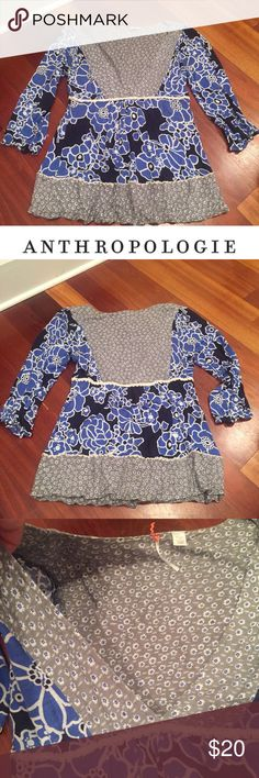 Anthropologie Ric Rac Blue Floral Blouse Anthropologie Ric Rac Blue Floral Blouse. 3/4 sleeve. V-Neck. 18 inch bust. 25 inches long. Gently worn. Excellent condition. Feel free to make an offer. Anthropologie Tops Blouses