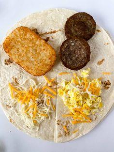 Breakfast Tortilla, Breakfast Wraps, Savory Breakfast, Sausage Breakfast, Breakfast Recipes, Best Breakfast Sandwich, Breakfast Potatoes, Wrap Recipes, Food Hacks
