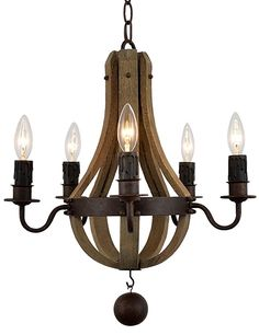 "Docheer Vintage Wine Barrel Stave Reclaimed Wooden Chandelier Light W 17"" Wood & Rust Metal Ceiling Pendant Chandelier Lamp with 5 Candle Holders Bedroom Living Dinning Room ,UL listed (S)"