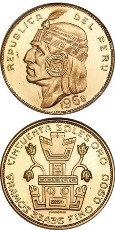 N♡T.Peru Republic gold 50 Soles 1968 Inca Gold Oro