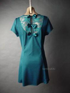 Jewel Tone Teal Blue Floral Lace Bow Back Ladylike Elegant Party 52 ac Dress 2XL