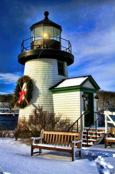 """""""Mystic Seaport Lighthouse in Winter"""" by James Terry, via 500px"""