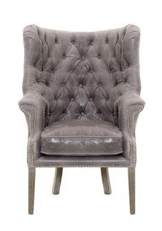 Orient Express Furniture   Hughes Club Chair   Collection Name: Patina Description: Shelter back, button-tufting, silver nails, every detail counts and that's what sets the Hughes Club Chair apart from the rest. Shown here in Pewter Wax Leather with Weathered Wood Legs and Silver Nails. Also available in Chestnut Antique Leather.  #HPmkt
