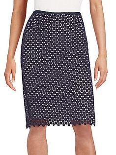Karl Lagerfeld Circle Lace Pencil Skirt - Marine - Size