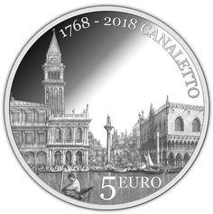 """5€ in argento """"250° anniversario della scomparsa di Canaletto"""" Veduta del bacino di San Marco dalla Punta della Dogana https://www.facebook.com/photo.php?fbid=538306199859638&set=a.538306159859642.1073741836.100010407882369&type=3&theater"""