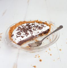 """Mini Chocolate Cream Pie for Two. Made in a small pie pan that measures 6"""" across."""