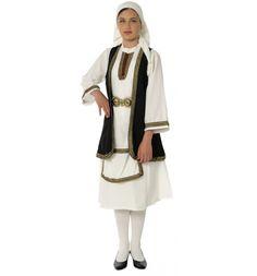 traditional greek women clothing Girls Children's G. Halloween Costume Shop, Folk Costume, Boy Costumes, Dance Costumes, Greece Costume, Greek Traditional Dress, Multiple Outfits, Sleeveless Coat, Black Vest