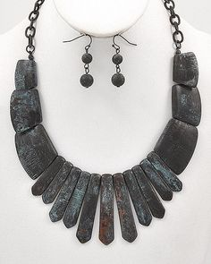 Rock It Black and Turquoise Stone-Look Statement Necklace $46 #statementjewelry #jewellery #jewlry