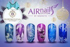 Winter Nail Art with Airnails by Magnetic Nail Art Noel, Nail Art Diy, Diy Nails, Winter Nail Art, Winter Nails, Magnetic Nails, Airbrush Art, Love Nails, Nail Tech