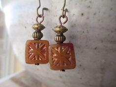 Bronze Czech Earrings Czech Glass Earrings Boho Earrings, Brass Earrings Dangle Earrings, Geometric Earrings, Small Earrings Drop Earrings