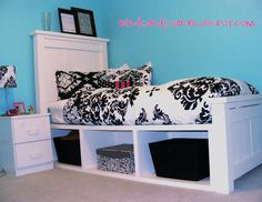 Teen room....need this bedding for Maddie and have my father in law build her a full sized version of this bed!