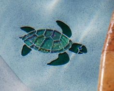 Glass Mosaic Baby Sea Turtle Jade and Celadon Largest Sea Turtle, Swimming Pool Mosaics, Baby Sea Turtles, Mosaic Glass, Stained Glass, Pool Installation, Beautiful Color Combinations, Mosaic Crafts, Underwater