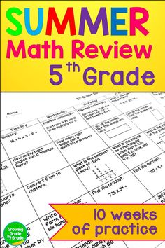 Your 5th graders can stay on track with math all summer long! Elementary students will be ready for middle school math on the first day! This 10-Week Summer Math Review packet is aligned to Common Core, and is perfect for any curriculum. Each math standard is addressed each day in this practice packet. An answer key is included. There are word problems and computation are on each worksheet. The consistent practice and review in this resource will keep kids' skills strong!
