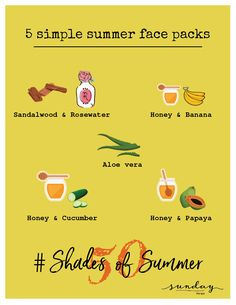 Try these soothing face packs to get rid of tan and blemishes. #Day3 #50shadesofsummer #summertips #skincaretips #sundaythespa #summerfacepacks #facemasks #summercare #glowingskin