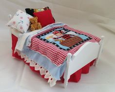 Dolls House Luxury Dressed Single Bed  by LittleHouseAtPriory