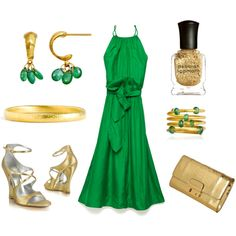Really enjoying the green dress...  Emerald and Gold Wedding Guest, created by sazzledoodle on Polyvore