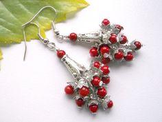 Red coral dangle earrings coral cluster earrings by BeAliter