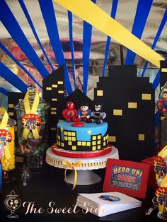 Super Hero Birthday Party decorations! See more party planning ideas at CatchMyParty.com!