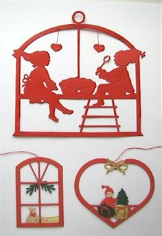 I am very fond of my several Nisse paper cuts. Hung by a single string, they whirl around in the indoor air currents..fascinating