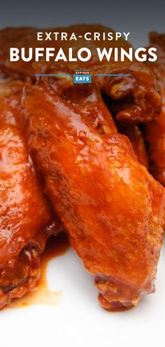 Crispy, tangy, easy, and super flavorful wings. These buffalo wings are the best in the west for your Super Bowl feast. The best homemade Buffalo wings are double fried confit. Hot Wings Recipe Fried, Buffalo Hot Wings Recipe, Homemade Wings, Grilled Wings, Crispy Chicken Wings, Food Lab, Chicken Wing Recipes, Serious Eats, Football Food