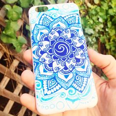 Hard plastic iPhone case with an elegant blue gradient mandala design. - Protects against dust, dirt and dings - Covers back and sides of phone - Access to all buttons and ports
