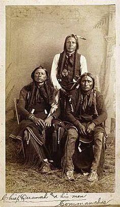 L-R: Quanah Parker, Moetah (aka Pug Nose, aka Frank Moetah), Quassyah (aka Eagle Tail Feather) - Comanche - circa 1891:
