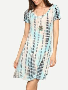 Multicolor Short Sleeve Print Shift Dress