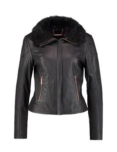 Black leather jacket with fur collar and rosegold hardware   Ted Baker