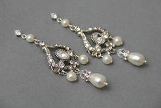 Chandelier Bridal Crystal  Pearl dangle  by LavenderByJurgita