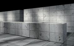 The stone counter and cabinets has a minimalist look to it. Basic ...