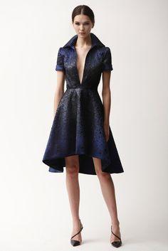 Naeem Khan | Pre-Fall 2015 | 20 Blue short sleeve mini dress with black embellishments and deep V-neck