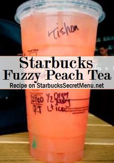 Starbucks Fuzzy Peach Tea fuzzy peach tea Passion Iced Tea made with half water and half orange mango purée w/light ice Peach syrup instead of the classic syrup Refreshing Drinks, Fun Drinks, Healthy Drinks, Alcoholic Drinks, Beverages, Starbucks Secret Menu Drinks, Starbucks Recipes, Coffee Recipes, Starbucks Coffee