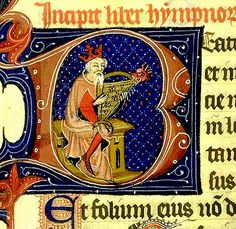 """David musicien. initial """"B"""". France 13th cent. Bib. de Toulouse"""