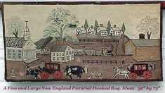 """A Fine Large New England Pictorial Hooked Rug Ca. 1900. Measures 32"""" by 75""""."""