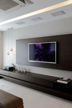 SHENGFENG Mediawand LED Wohnwand Hochglanz TV-Wand Modern ...