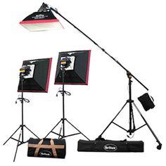Britek - 1800w  Halogen 3 Point Light Kit with Boom Stand