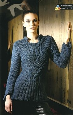 Free Knitting Patterns for a Cable Stitch Fitted Sweater. Beautiful intricate cabled ladies sweater pattern to knit. Sweater Knitting Patterns, Knit Patterns, Knitting Sweaters, Free Knitting, Stitch Fit, Vintage Knitting, Pulls, Knitwear, Knit Crochet