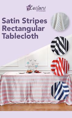 Satin stripes table linens are perfect for special occasions or events. This rich hue and high-quality fabric will create an inviting ambiance for your guests. #tablecloths #tablesetting Banquet Tables, Reception Table, Dinner Table, Striped Table, Dining Decor, Big Party, Tablecloths, Table Linens, Event Decor