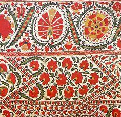 Embroidered suzani hanging from Bukhoro, Uzbekistan Textiles, Textile Patterns, Textile Art, Flower Patterns, Print Patterns, Ethnic Patterns, Pattern Designs, Contemporary Decorative Art, Naive Art