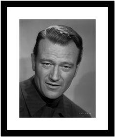 John Wayne wearing a Black Outfit in a Portrait Premium Art Print